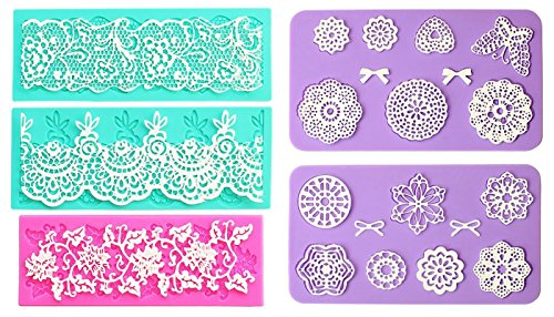 Embossing Lace Fondant Moulds, Multi Circle Flowers Lace Mat Wedding Cake Decoration Tool, Rattan Shaped Cupcake Mat Silicone Molds set of 5 (Best Cake Mix For Fondant Cakes)