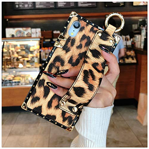 Twinlight Luxury Wristband Leopard Phone Case for iPhone Xs XS max X XR 7 8 Plus Square Brown Purple TPU Phone Case (Brown, for iPhone XR) (Iphone Case Brown 6 Hex)