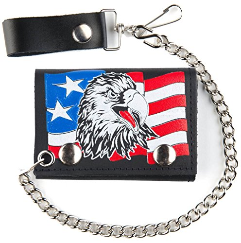 AMERICAN FLAG USA PATROITIC EAGLE Mens Biker Leather Tri-fold Wallet with (American Eagle Mens Belt)