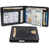 TRAVANDO Slim Wallet with Money Clip SEATTLE RFID Blocking Card Mini Bifold Men (Carbon)