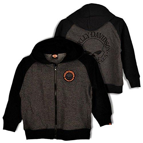 Skull Zip Fleece (Harley-Davidson Big Boys' Skull Fleece Zip Hoodie Grey & Black 0391472 (12/14))