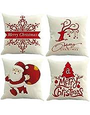 Feelava Kussenovertrekken in kerststijl, 4 stuks, decoratieve kussenovertrekken van katoen en linnen met mooie kerstmotieven: een kerstboom, een rendier, sneeuwvlokken, enz.