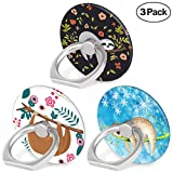 Phone Ring Holder - 360 Degree Rotation Universal Mobile Phone Ring Stand Bracket Finger Holder Mount Compatible Smartphones Tablet and Phone Case - Cute Sloth Bear - 3-Pack