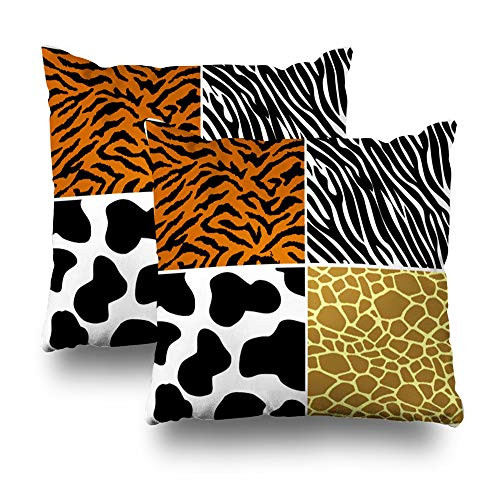 Suesoso Decorative Pillows Case 18 x 18 Inch Set of 2, Tiger Zebra Cow Giraffe Also Available As JPEG Throw Pillowcover Cushion Decorative Home Decor
