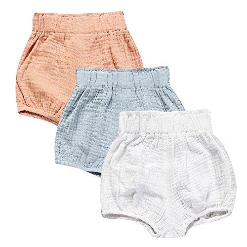 (Mary ye Baby Girls Boys 3 Pack Cotton Linen Blend Cute Bloomer Shorts)