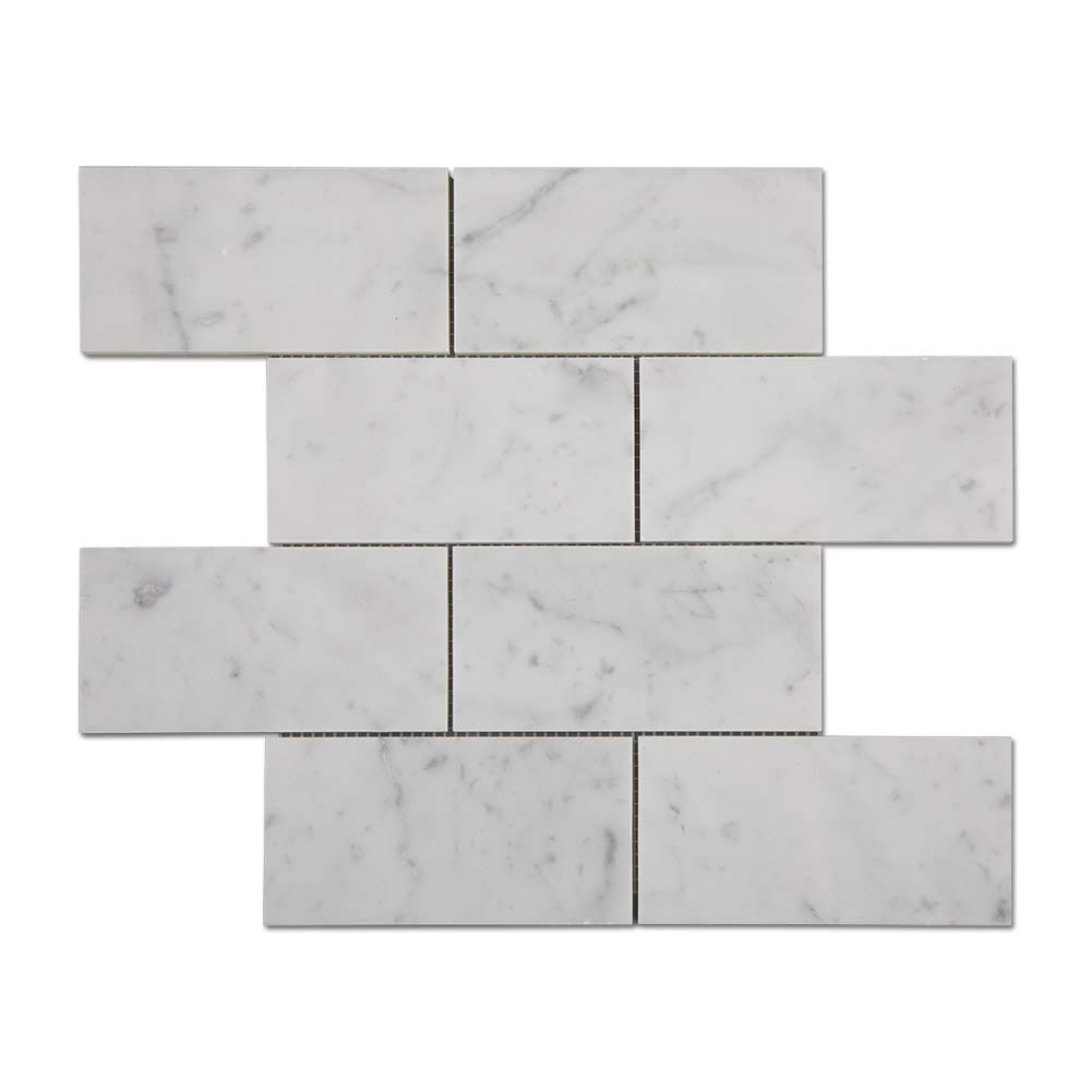 Diflart Carrara White Italian Bianco Carrera 3x6 Subway Tile Polished Pack of 5
