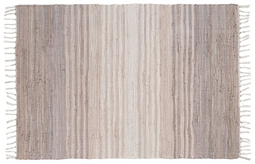 Stitch and Shuttle 24 by 36 inch Hand Woven Chindi Rug, Gray Stripe - Chindi throw rugs are made from 100% cotton Each rug measures 2' x 3' Hand-woven using excess cotton fabric, called chindi, generated by the apparel industry. - bathroom-linens, bathroom, bath-mats - 51Do9lLlnKL -