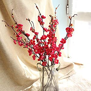 Inverlee Artificial Fake Flowers Cherry Blossom Plum Floral Wedding Bouquet Home Decor (Red) 33