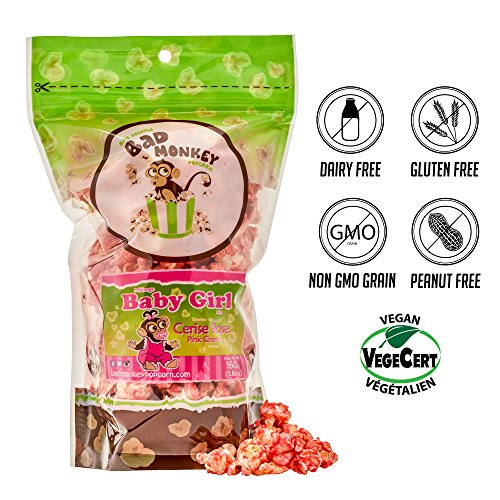 Bad Monkey Baby Girl Pink Cherry Popcorn Mixes Cotton Candy & Pink Cherry Flavors. Delicious Dairy Free Sweet Treat 5.6 oz x 4 Review