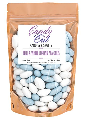 (Light Blue and White Jordan Almonds 1 Pound in Stand Up Bag)