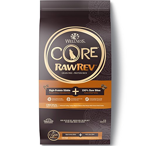 Wellness Core Rawrev Natural Grain Free Dry Dog Food, Original Turkey & Chicken With Freeze Dried Turkey, 20-Pound Bag