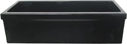 Whitehaus WHQ536-BL Farmhaus Quatro Alcove 36-Inch Reversible Fireclay Sink with Apron, Black