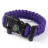 Paracord Survival Bracelet Rope, TRENDINAO New Paracord Survival Bracelet Rope Flint Fire Starter Compass Whistle (Purple)