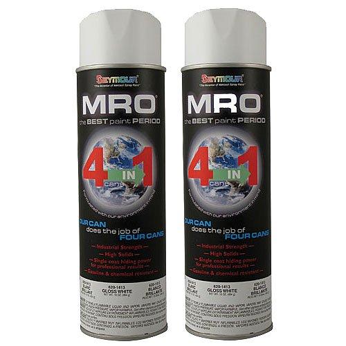 Seymour Spray Paint, Gloss White MRO Industrial Enamel Paint, 20 Fluid Oz. Cans (2)