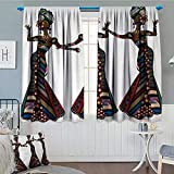Anniutwo African Woman Window Curtain Drape Young Women in Stylish Native Costumes Carnival Festival Theme Dance Moves Decorative Curtains For Living Room 55'' W x 63'' L Multicolor