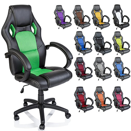 TRESKO Silla giratoria de oficina Sillon de escritorio Racing disponible en 14 colores, bicolor, silla Gaming ergonomica, cilindro neumatico certificado por SGS (Negro/Verde)