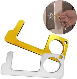 Jacktom DC-001 DC Hygiene Brass No-Touch Door Opener Closer Stylus Keep Hands Clean EDC Door Opener(Gold/Sliver)
