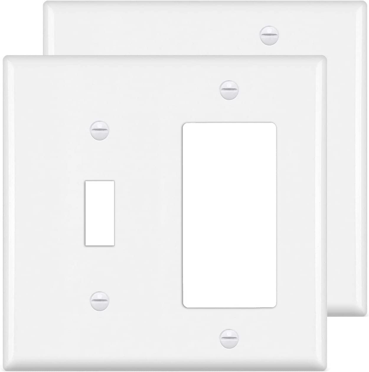 [2 Pack] BESTTEN 2-Gang Combination Wall Plate, 1-Decor/1-Toggle Outlet and Switch Cover, Standard Size, UL Listed, White