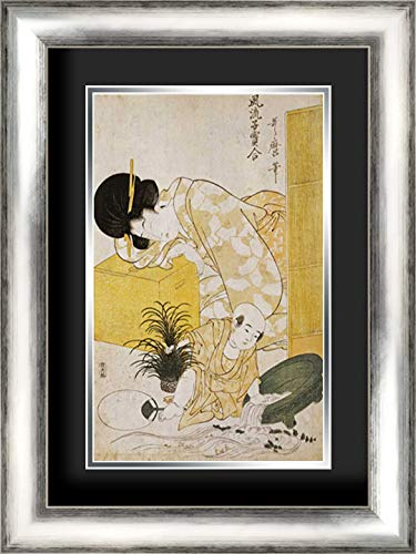 A Mother Dozing While Her Child Topples a Fish Bowl 17x24 Silver Contemporary Wood Framed and Double Matted (Black Over Silver) Art Print by Utamaro, Kitagawa