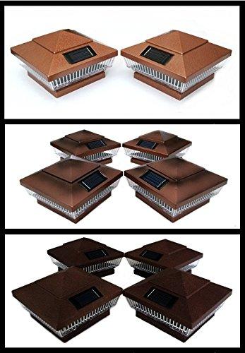 2-Pk Copper 4 x 4 Fence Post Cap Solar Lights 5 LEDs (PF967)