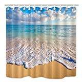 Beach Shower Curtain HNMQ Beach Shower Curtain, Tropical Ocean and Waves at Sunrise Sun on Sea, Upgrades Mildew Resistant Fabric Bathroom Decorations, Bath Curtains Hooks included, 69X70 inches