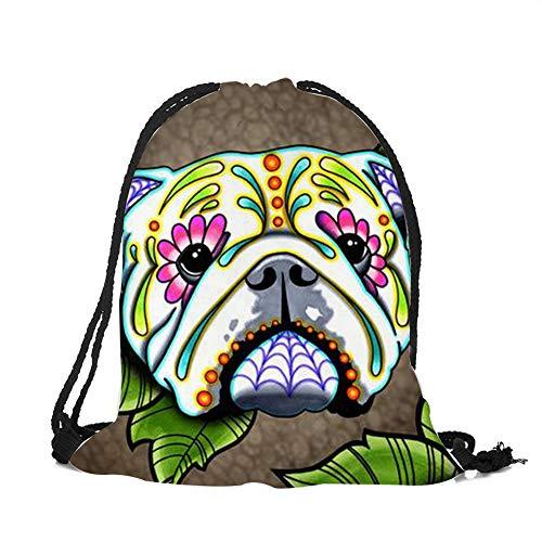 Customized Drawstring Bags Women Men UniSkull Dog Tattoo 3D Printing Mochila Feminina sac a dos String