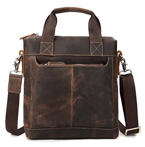 Bag Leather Really (Men's Crazy Horse Leather Tote Bag A4 Vintage Hard Cow leather Messenger Bag)