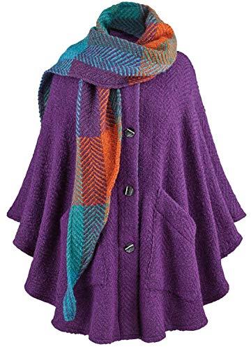 - Branigan Weavers Purple Cape & Scarf - Alpaca Wool Boucle Handmade in Ireland - One Size