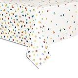 polka dot party supplies - Rainbow Mini Polka Dot Plastic Tablecloth, 84
