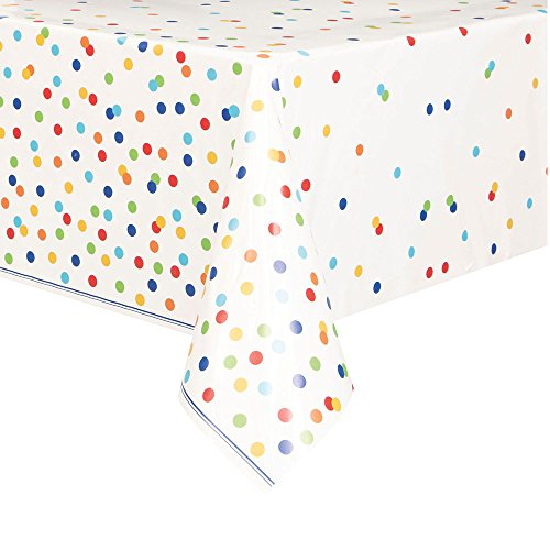 Rainbow Mini Polka Dot Plastic Tablecloth, 84