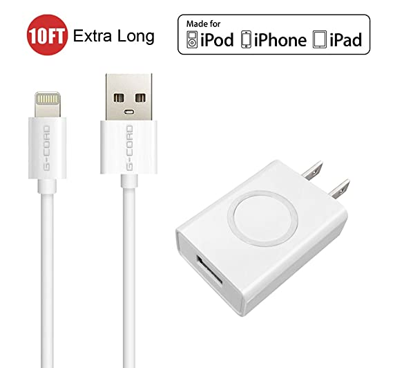 hot sale online a6884 67f4f Amazon.com: [Apple MFI Certified] G-Cord 10FT Extra Long Extended 8 ...