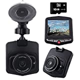 Dashcam Car & Truck Dash Cam Dashboard Car Video Recorder with Loop Recording G-sensor Motion Detection Night Vision 140 Degrees Wide Angle Lens. Free 16GB Micro SD Card & Wire Clips Included