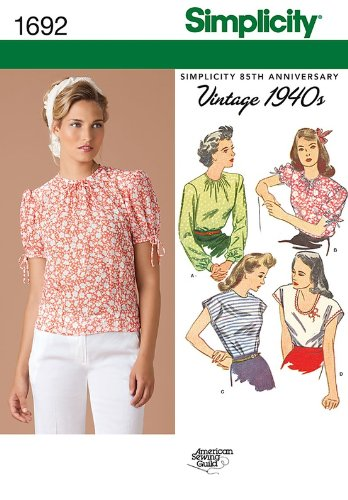 SIMPLICITY 1692 VINTAGE 1940'S MISSES' TOPS SEWING PATTERN
