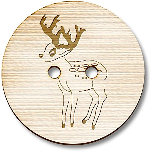 Azeeda 8 x 23mm 'Baby Deer (Foal)' Round Wooden Buttons (BT00000754) ()