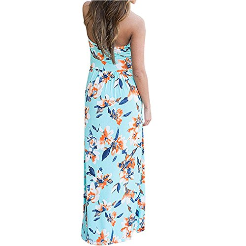 Bossand Femmes Bustier Partie D'impression Vintage Floral Longue Robe Maxi Plage Bleu Ciel Poche