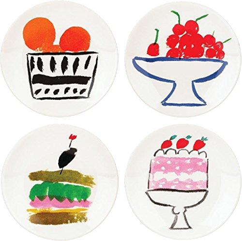 KSNY All in Good Taste Pretty Pantry Dw Appetizer Plate, White, Set of 4