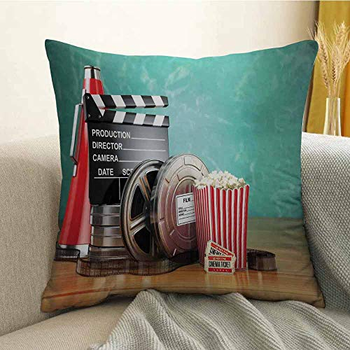 Slip Megaphone Dual - FreeKite Movie Theater Silky Pillowcase Production Theme 3D Film Reels Clapperboard Tickets Popcorn and Megaphone Super Soft and Luxurious Pillowcase W20 x L20 Inch Multicolor