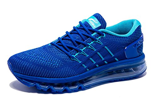Onemix Men's Air Running Shoes, Light Gym Outdoor Walking Sneakers Blue Size 12 D(M) US