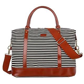 BAOSHA HB-28 Ladies Women Canvas Travel Weekender Overnight Carry-on Shoulder Duffel Tote Bag (Genuine Leather Black)