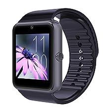 surmos gt08reloj inteligente bluetooth teléfono con tarjeta SIM Insert Anti-lost Recordatorio de llamadas teléfono Mate Apoyo tarjeta SIM reloj inteligente bluetooth teléfono Android, Negro