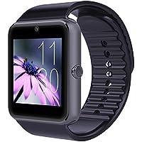 SURMOS GT08 - Reloj inteligente con Bluetooth y tarjeta de Sim, recordatorio de llamadas anti-pérdida, compatible con teléfono celular, tarjeta de Sim, Bluetooth, Android, reloj inteligente, Negro