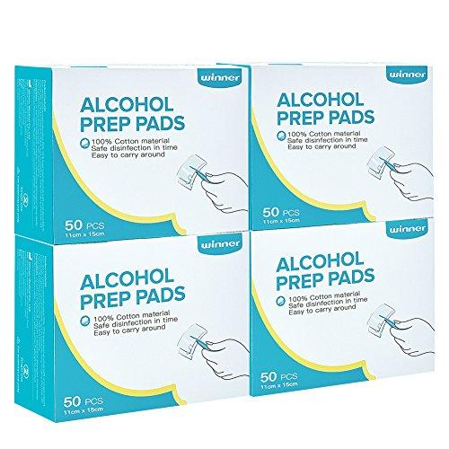 Winner Ultra Large Alcohol Wipes, 100% Soft Cotton Prep Pads Lock Abundant Liquid, 200 Count (Box of 4) by Winner