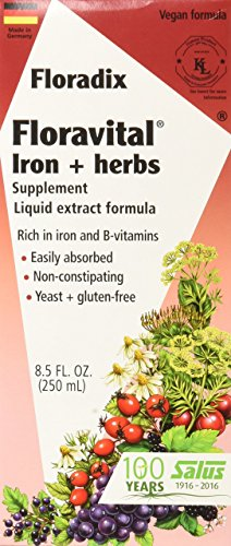 Floravital Liquid Iron Supplement + Herbs 8.5 Ounce - Yeast & Gluten Free - Non Constipating