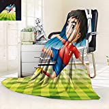 vanfan Super Soft Fleece Throw Blanket Boy Playing Football in The Stadium Athlete Sports Soccer Championship Graphic Multicolor,Silky Soft,Anti-Static,2 Ply Thick Blanket. (60''x36'')