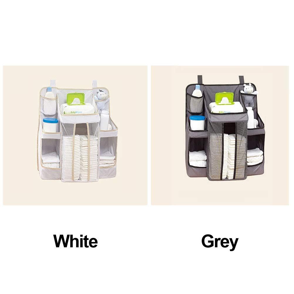Organizador de pañales para bebé, bolsa de almacenamiento para colgar en la mesita de noche con bolsillo, toallitas húmedas, juguetes de leche, polvo húmedo ...