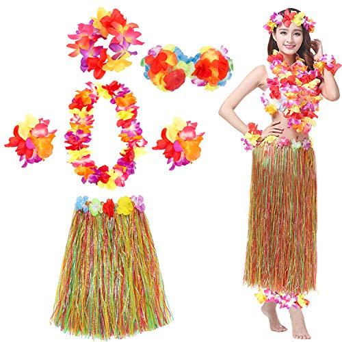 Hula Skirt Hawaiian Grass Skirts with Flower Leis Costume Set Luau Grass and Hawaiian Flower Bracelets, Bra, Headband, -