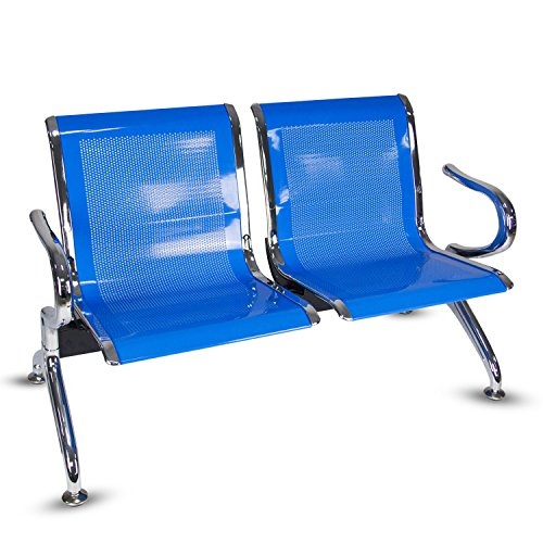 Kinbor 2- Seat Guest Chair Airport Reception Waiting Chair Room Garden Salon Barber Bench,Blue by Kinbor
