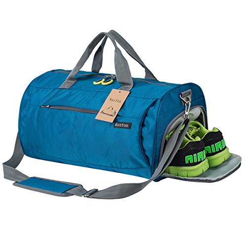 Kuston Sports Gym Bag with Shoes Compartment Travel Duffel Bag for Men and Women (sky blue) by Kuston