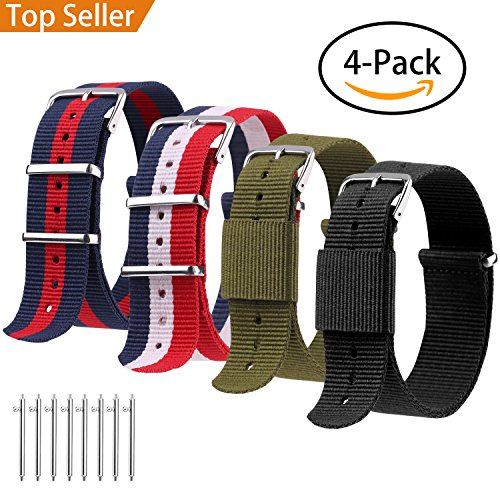 nds, Quick Release Premium Ballistic NATO Straps, Nylon Replacement Wristband with Adjustable Stainless Steel Buckle for Men Women, 22mm 20mm,4 Pack ()