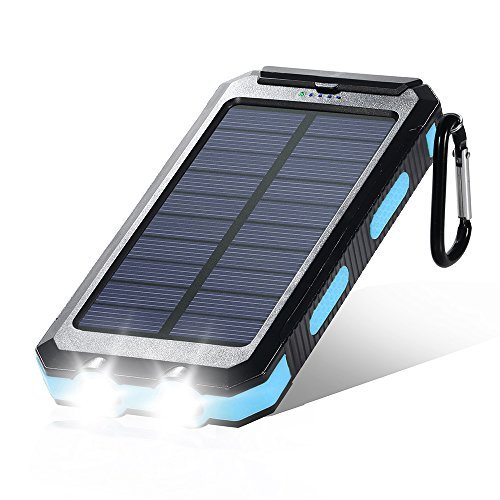 Dostyle Solar Charger, 10000mAh Dual USB Solar External Battery Pack Phone Charger Power Bank with Flashlight Carabiner Compass (Black blue)